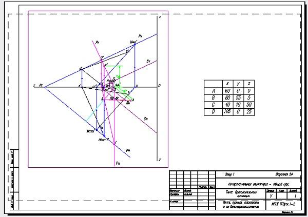 Ортогональные проекции Эпюр 1 Вариант 24